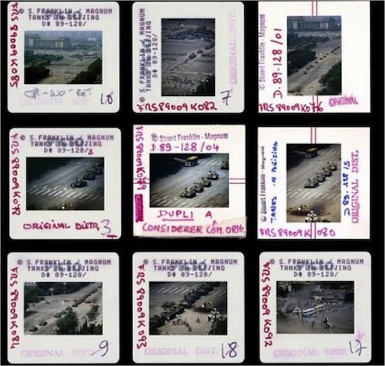 (C) Stuart Franklin. Plaza de Tiananmen, Pekín, 5 de junio de 1989.Plancha de contactos de las diapositivas editadas.