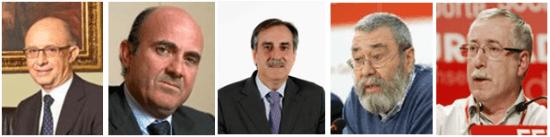 Montoro, De Guindos, Gómez, Méndez y Toxo