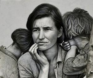 """Dorothea Lange Migrant Mother detalle fodo retocado """"Madre migrante"""" o el respeto como paradigma (1)"""