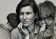 "© Dorothea Lange. ""Migrant Mother"". (Detalle, fondo retocado)"