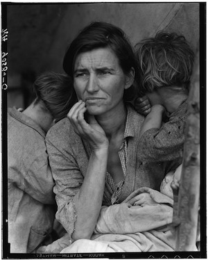 "© Dorothea Lange. ""Migrant Mother"". Secuencia 6/6"