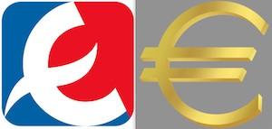 Lootipos de Eroski (1959) y el euro (1999).