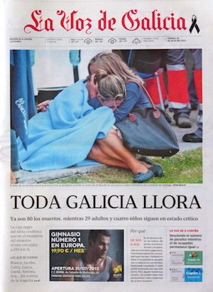 La Voz de Galicia. Portada del 26 de julio de 2013