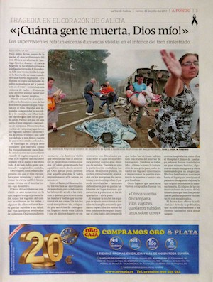 Trágico accidente de tren en Santiago de Compostela. 'La Voz de Galicia', 15 de julio de 2013. Página 3. Foto: Xoan A. Soler / Mónica Ferreirós