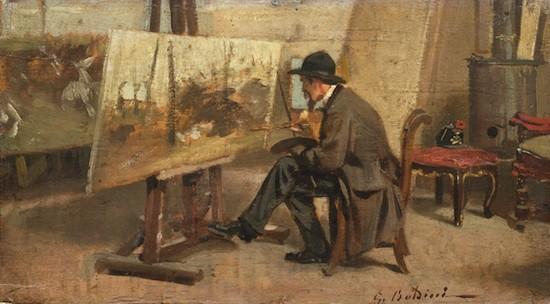 Giovanni Fattori en su taller. Giovanni Boldini