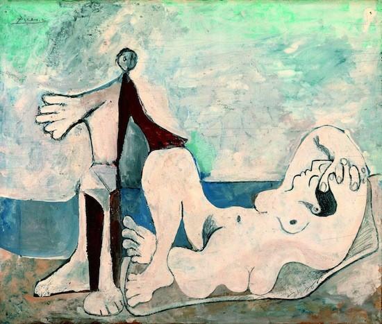 Picasso: hombre y mujer a la orilla del mar, 1961