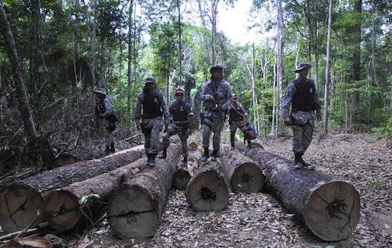Soldados en un campamento maderero situado en territorio brasileño de los awá. © Mário Vilela/FUNAI