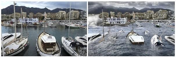 Marbella. Greenpeace ilustra la situaciónsi no se frena el cambio climático y el Ártico desaparece. A la derecha, la simulación de cómo el cambio climático y la destrucción del Ártico podría afectar a la capital 'jet set' de la Costa del Sol