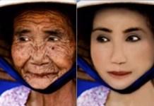 """La imagen real –una anciana de cien años– torna dramáticamente en irreal vía retoque –léase falsificación, """"extrañamiento""""– total"""