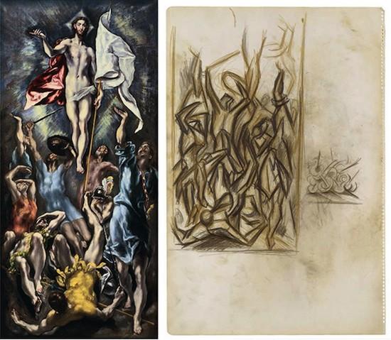 Izquierda: La Resurrección de Cristo. El Greco. Óleo sobre lienzo, 113,6 x 52,7 cm, h. 1600. San Luis, Mildred Lane Kemper Art Museum at Washington University in St Louis. University purchase, Parsons Fund, 1952 Derecha: Sin título. Jackson Pollock. Lápices de color sobre papel, 45,7 x 30,5 cm, h. finales 1937 - 1939. Nueva York, Lent by The Metropolitan Museum of Art. Purchase, Anonymous Gift, 1990. © The Pollock-Krasner Foundation, VEGAP, Madrid, 2014