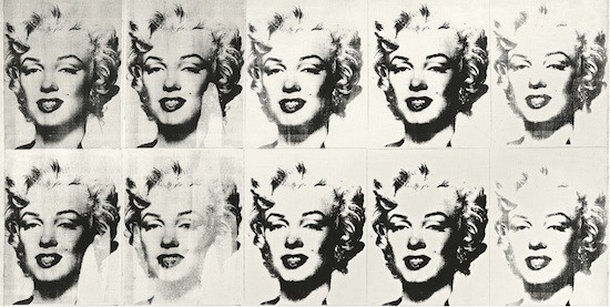 Andy Warhol. Marilyn Monroe in Black and White (Twenty-Five Marilyns [detalle]). 1982. Moderna Museet, Estocolmo.