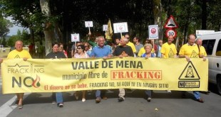 Manifestación contra el fracking en el Valle del Mena, Burgos, España