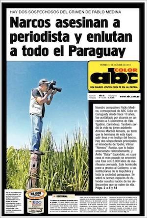Portada de ABC Color en recuerdo de Pablo Medina