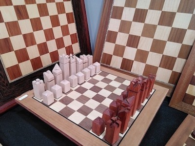 JC: tableros ajedrez en un mercadillo navideño en Madrid