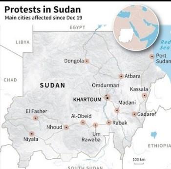 Mapa de las ciudades en Sudán que han celebrado protestas contra el régimen (en inglés)