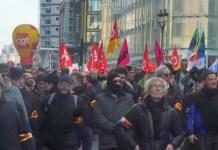 Servicio orden en la manifestación conjunta entre gilets jaunes y sindicatos el 2 de febrero de 2019