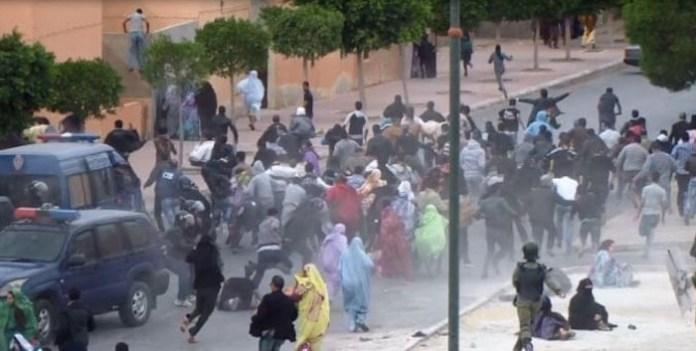 Disolución de una protestas en las calles de El Aaiún.