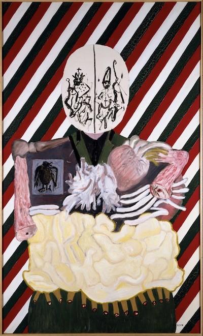 Eduardo Arroyo: Los cuatro dictadores | Mussolini, 1963 Oleo sobre lienzo 235 x 140 cm. Museo Nacional Centro de Arte Reina Sofía.