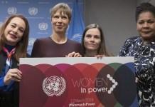 María Fernanda Espinosa con la primera ministra de Islandia y las presidentas de Estonia y Trinidad y Tobago. ONU/Mark Garten
