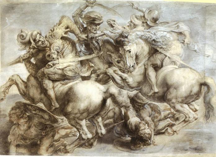 Leonardo Da Vinci, Batalla de Anghiari. Copia de Rubens en el Museo del Louvre