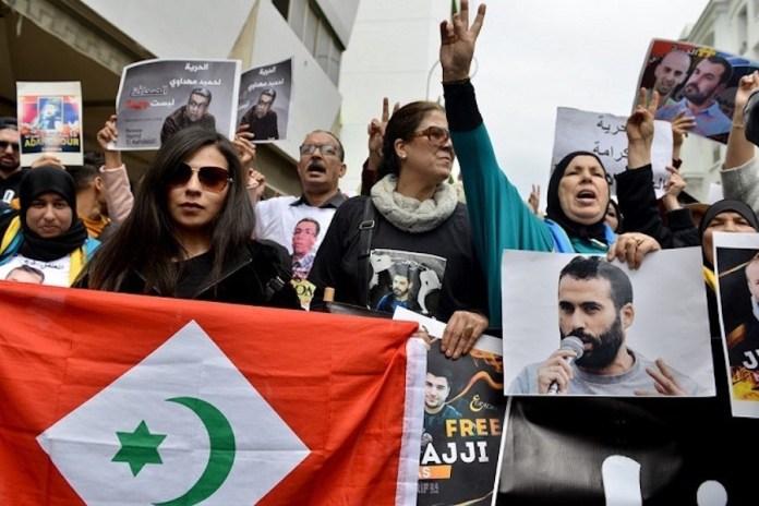 Manifestación a favor de los presos del Rif en Rabat, con fotos del periodista Mahdaoui
