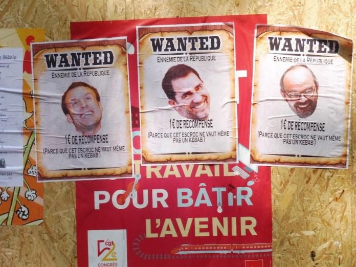 """Macron y sus ministros de Trabajo e Interior """"buscados"""" como enemigos de la República. 1 de mayo de 2019"""
