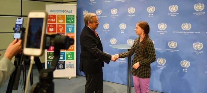ONU Viena / Nikoleta Haffar:la activista Greta Thunberg junto al Secretario General en las Naciones Unidas de Viena.