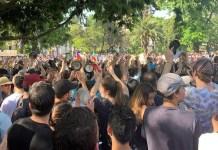 Diana Leal Manifestantes en las calles de Santiago de Chile