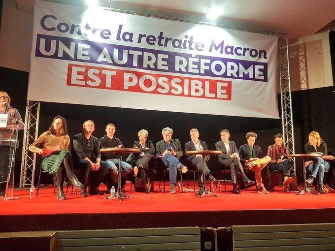 Francia: reunión de las fuerzas de izquierda contra la reforma de las pensiones del gobierno Macrón.