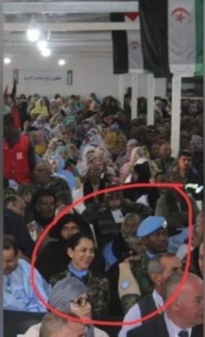 Imagen que destaca la prensa marroquí de la presencia de miembros de la Minurso en el Congreso del Frente Polisario
