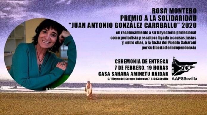 Cartel de la entrega del premio a Rosa Montero por su apoyo a la causa saharaui