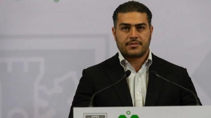 Omar García Harfuch en una comparecencia de prensa