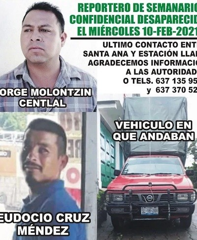 periodista desaparecido Jorge Molontzin