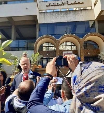 El secretario general de RSF, Christophe Deloire, hace declaraciones a la salida del Tribunal de Casablanca