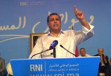 Aziz Ajanouch, futuro jefe de Gobierno, durante un mitin del RNI