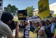 RSF y Amnistía Internacional se concentraron ante la embajada egipcia en Madrid el pasado jueves 26 para pedir la libertad para Shawkan.