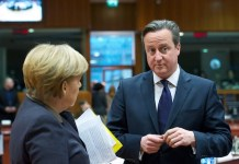 Angela Merkel y David Cameron en Bruselas