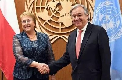 Bachelet con Guterres en la ONU