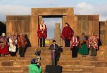 El presidente boliviano, Evo Morales participa en un acto en la ciudadela prehispánica de Tiahuanaco para celebrar el récord del presidente que más tiempo ha gobernado el país de forma continua. Miércoles 21 de octubre de 2015.