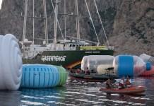 12/06/2017. Islas Baleares. España. Objetos plásticos gigantes emergen del agua en el Mediterráneo. ©Greenpeace / Pedro Armestre