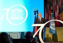 © UNESCO / Nora Houguenade, François Hollande, presidente de Francia, participa en el Foro de Líderes de la Organización. 17 de noviembre de 2015.