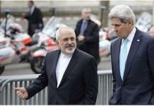 """Foto de los jefes de la diplomacia de Irán y de Estados Unidos, extraída deartículode prensa del 2013 del Times of Israel titulado """"Kerry, Zarif to meet in Geneva as nuke talks ramp up"""""""