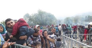 Refugiados en el control de Brezice, Eslovenia. Foto: AI