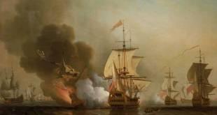 La explosión del San José, pintura al óleo de Samuel Scott (fechada entre 1730 y 1740)