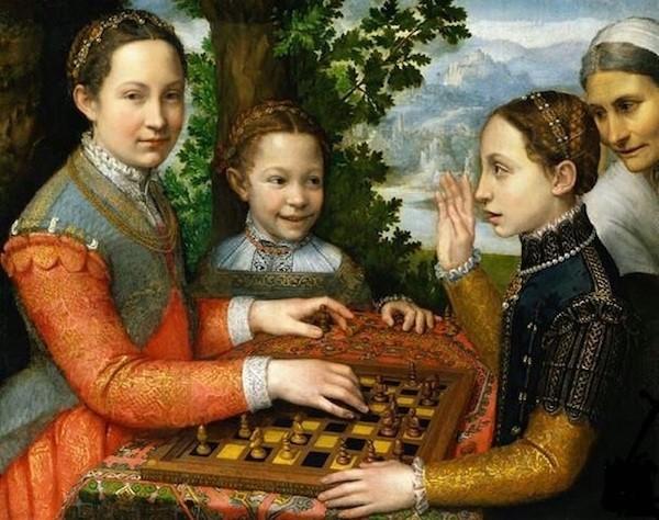 El juego del ajedrez' de la pintora italiana Sofonisba Anguissola.