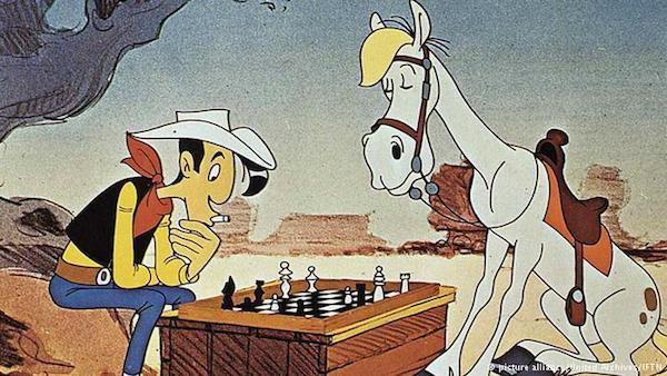 Lucky Luke juega con Jolly Jumper.