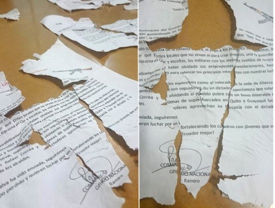 Fragmento de los panfletos esparcidos en los exteriores de diario El Telégrafo en Guayaquil.