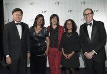 Galardonados con el Premio Internacional a la Libertad de Prensa en 2017, Pravit Rojanaphruk, Patricia Mayorga y Afrah Nasser con Joel Simon y Christiane Amanpour. Crédito: CPJ/Barbara Nitke.