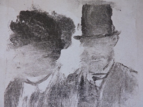 Degas: monotipo en papel de cabezas de hombre y mujer.