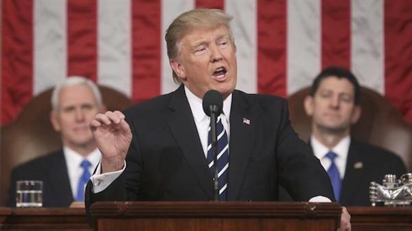 Donald Trump se dirige al Congreso de los EE.UU el 28 de febrero de 2017